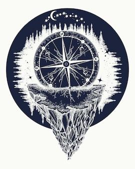 Kompas en bergen