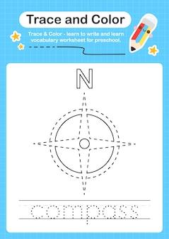 Kompas- en kleuterschool-werkbladtracering voor kinderen voor het oefenen van fijne motoriek