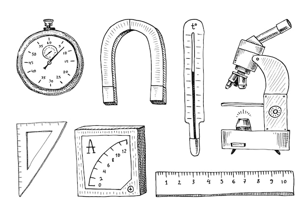 Kompas en magneet, alpelmet met thermometer en microscoop.