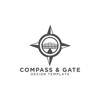 Kompas en poort logo ontwerpsjabloon vector