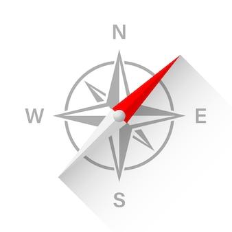 Kompas illustratie met schaduw.