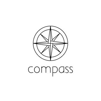 Kompas logo grafisch ontwerpconcept. bewerkbaar kompaselement, kan worden gebruikt als logo, pictogram, sjabloon in web en print