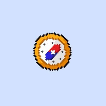 Kompas met pixelkunststijl