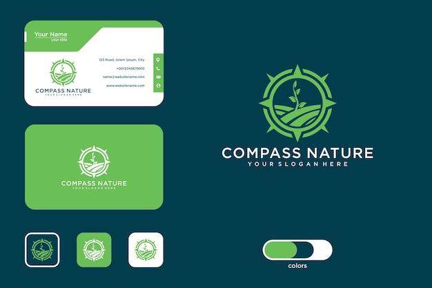 Kompas natuur logo ontwerp en visitekaartje