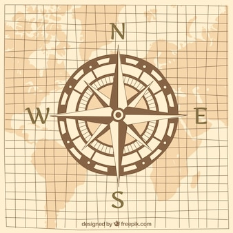 Kompas ontwerp op wereldkaart