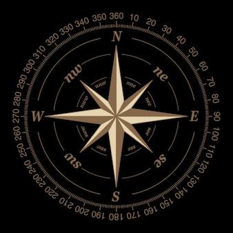 Kompas op een zwarte achtergrond