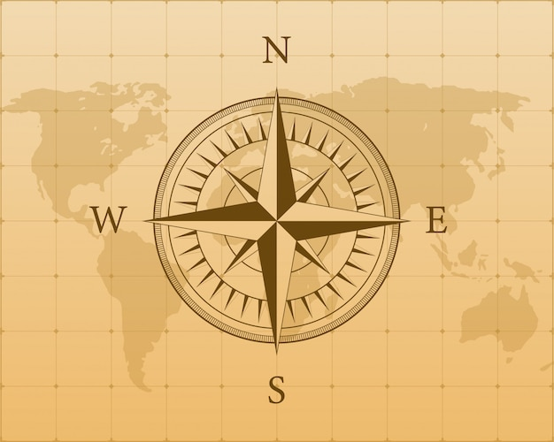 Kompas op witte achtergrond. plat navigatiesymbool. stock illustratie.