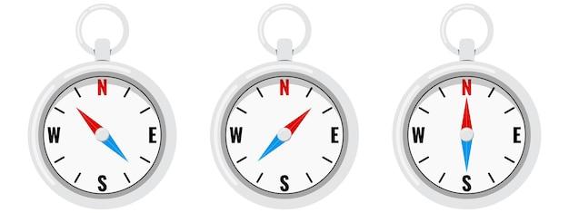 Kompas platte vector set geïsoleerd op een witte achtergrond.
