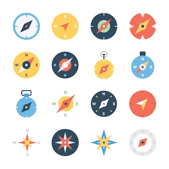 Kompas rose lijn icons set