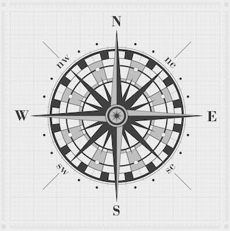 Kompas steeg over het rooster. vector illustratie.