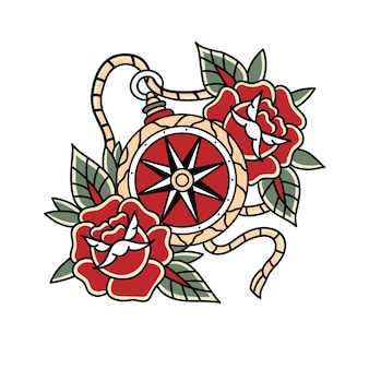 Kompas tatoeage