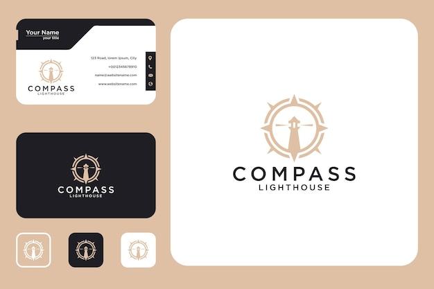 Kompas vuurtoren logo ontwerp en visitekaartje