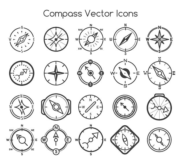 Kompaslijnpictogrammen