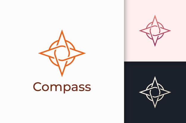 Kompaslogo in eenvoudige vorm voor buitenactiviteiten of gemeenschap