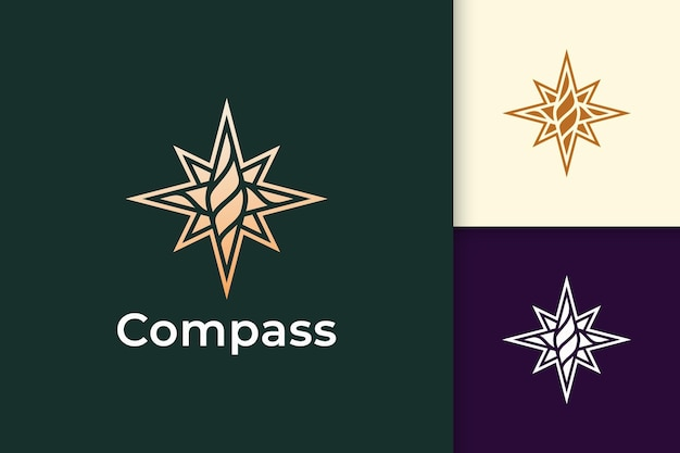 Kompaslogo in moderne en luxe stijl met gouden kleur