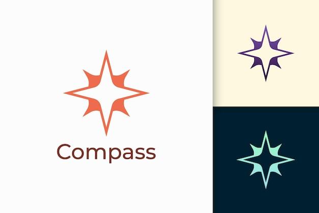 Kompaslogo in moderne vorm staat voor reizen of avontuur