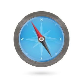 Kompaspictogram blauw en bruin op een wit. vector illustratie