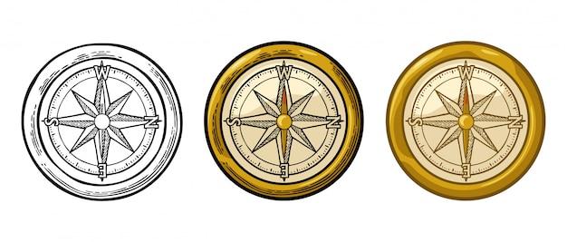 Kompasroos geïsoleerd op witte gravure illustratie