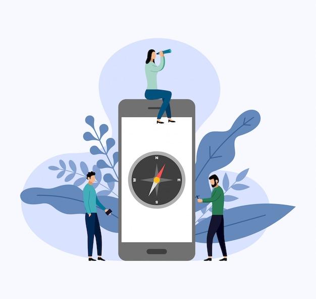 Kompasroos op smartphone in vlakke stijl