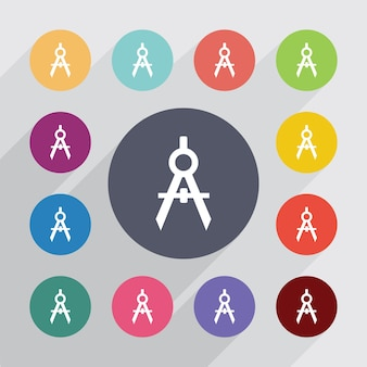 Kompassen cirkel, plat pictogrammen instellen. ronde kleurrijke knopen. vector
