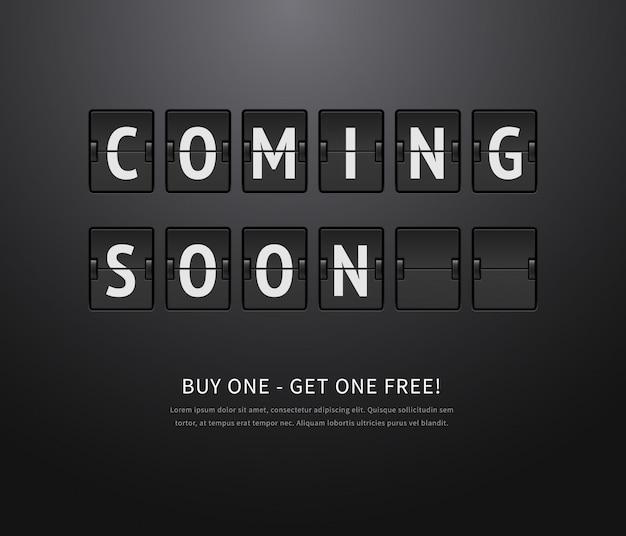 Komt binnenkort. zwart flipbord, analoog scorebord op donkere achtergrond. illustratie van flip-aftelkalender voor promotie