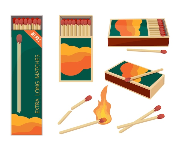Komt overeen met cartoon. vuur symbolen gevaarlijke houten lucifers veiligheid matchstick in doos brandende vlam collectie.