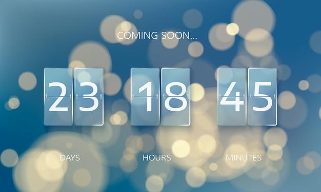 Kondig ontwerp van aftelpaneel aan. tel dagen, uren en minuten. webbanner aftellen naar nieuwjaar op kerstmis achtergrond wazig