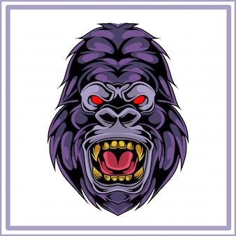 Kong hoofd mascotte logo