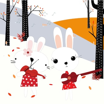 Konijn bunny spelen muziek in het voorjaar forest