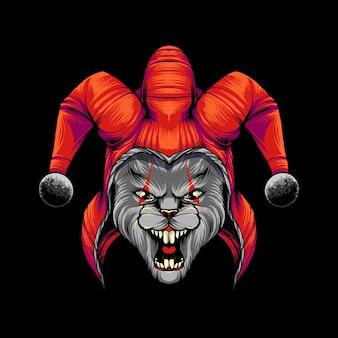 Konijn clown t-shirt illustratie premium vector