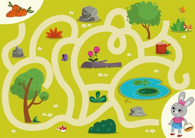 Konijn doolhofspel voor kinderen vectorillustratie