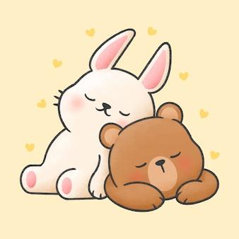 Konijn en beer samen slapen cartoon handgetekende stijl