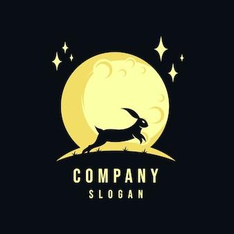 Konijn en maan logo-ontwerp