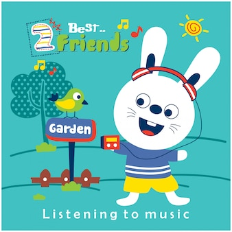 Konijn en vriend luisteren naar muziek in de tuin grappige dieren cartoon