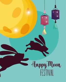 Konijn gelukkig maanfestival