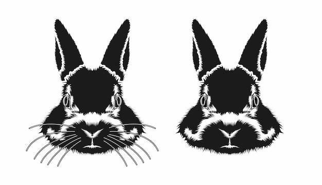 Konijn hoofd gezicht schets vector ontwerp inspiratie
