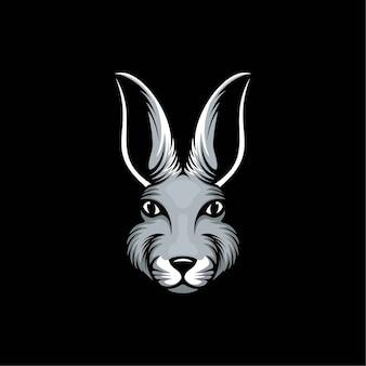 Konijn hoofd logo ontwerp illustratie