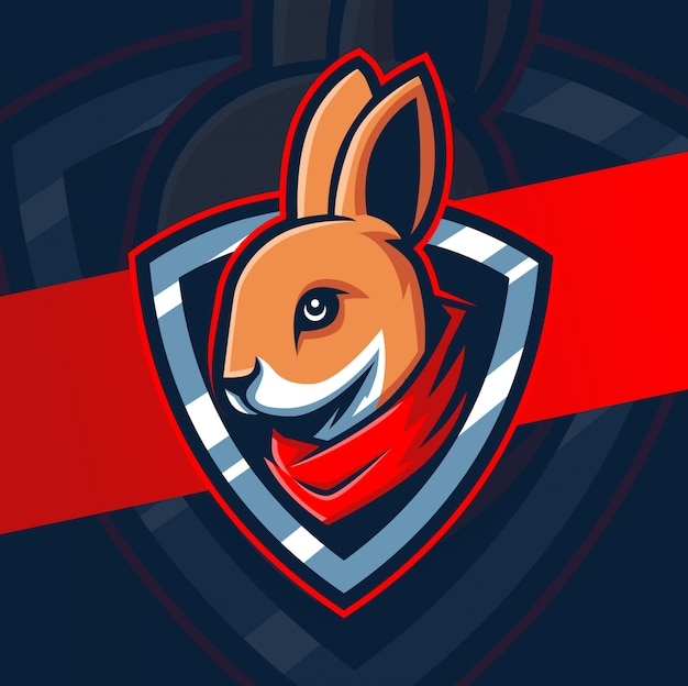 Konijn hoofd mascotte esport logo