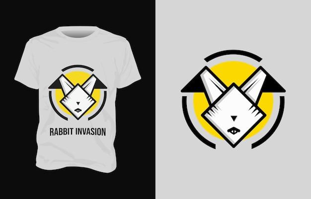 Konijn illustratie t-shirt ontwerp