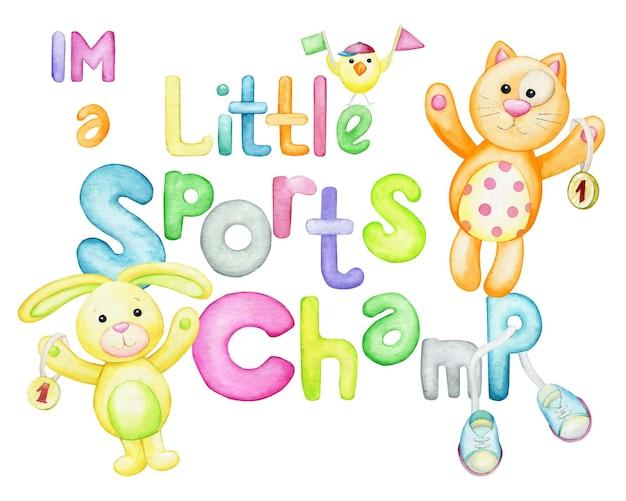 Konijn, kip, kat, tekst, veelkleurig, letters. sport thema.