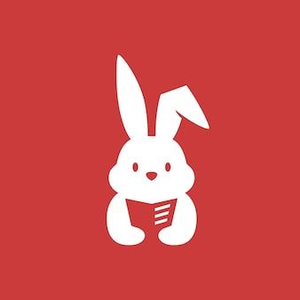 Konijn konijn haas boek lezen krant negatieve ruimte logo vector pictogram illustratie