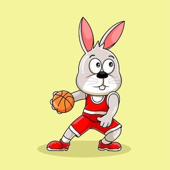 Konijn mascotte cartoon spelen basketbal