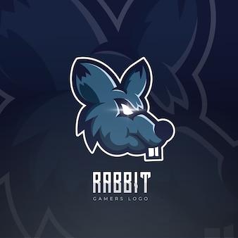 Konijn mascotte esport logo ontwerp