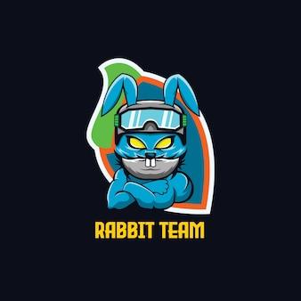 Konijn mascotte esports gaming team