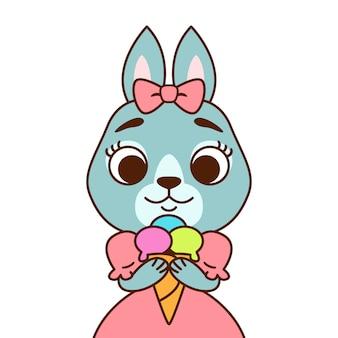 Konijn met een strik op haar hoofd in een roze jurk met ijs. afdrukken voor wenskaart, kinderkamer decoratie.