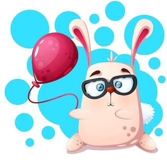 Konijn neushoorn met ballon