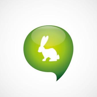 Konijn pictogram groen denk zeepbel symbool logo, geïsoleerd op een witte achtergrond