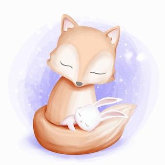 Konijn slaap op vossenstaart