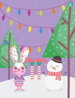 Konijn, sneeuwpop en elf benen bomen kerstkaart