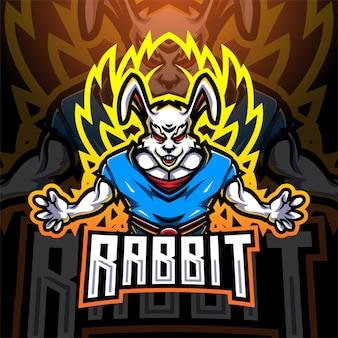 Konijn super esport mascotte logo ontwerp